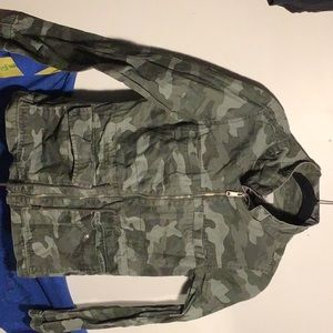 green, camouflage zip up jacket